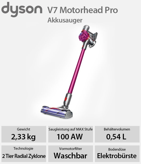 dyson v7 motorhead pro akku handstaubsauger staubsauger. Black Bedroom Furniture Sets. Home Design Ideas