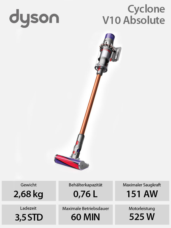 dyson v10 absolute handstaubsauger staubsauger akkusauger. Black Bedroom Furniture Sets. Home Design Ideas
