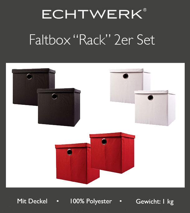 echtwerk faltbox rack 2er set aufbewahrungsbox mit deckel und metall se ebay. Black Bedroom Furniture Sets. Home Design Ideas
