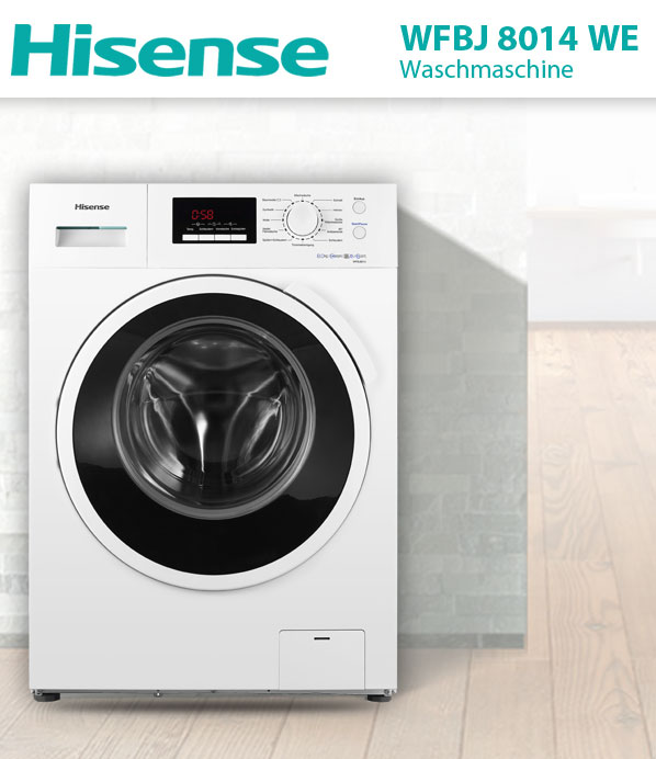 hisense wfbj 8014 we a waschmaschine 8kg waschautomat frontlader ebay. Black Bedroom Furniture Sets. Home Design Ideas