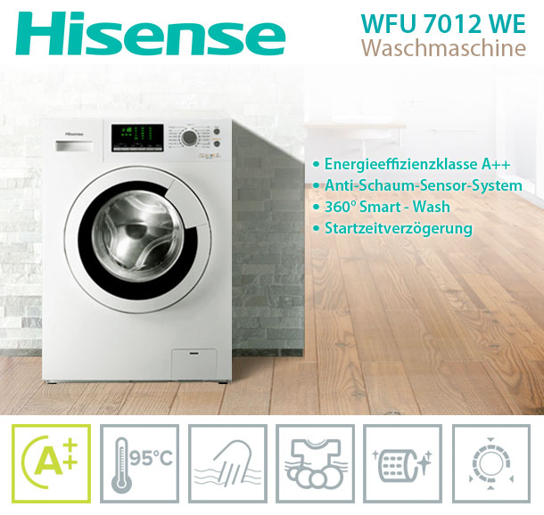 hisense wfu 7012 waschmaschine a waschautomat 7kg anti schaum sensor system ebay. Black Bedroom Furniture Sets. Home Design Ideas