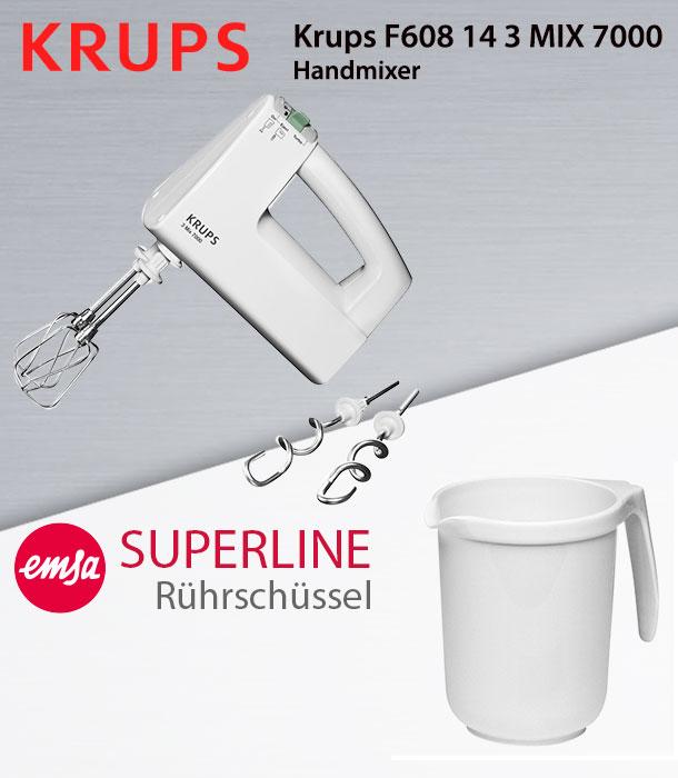 Krups F608143 MIX 7000 Handmixer Mixer Rührer Handrührgerät Front /& Heckbetrieb
