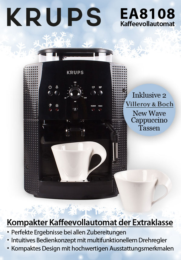 krups ea 8108 kaffeevollautomat inkl 2 villeroy boch new wave cappuccinotassen. Black Bedroom Furniture Sets. Home Design Ideas