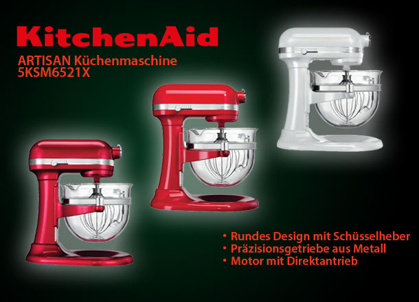 kitchenaid 5ksm6521 artisan k chenmaschine 6 liter fassungsverm gen ebay. Black Bedroom Furniture Sets. Home Design Ideas