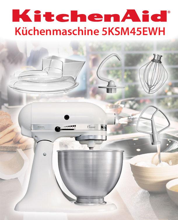 kitchenaid 5ksm45ewh k chenmaschine 4 3l factory serviced wei ebay. Black Bedroom Furniture Sets. Home Design Ideas
