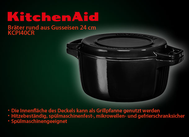 kitchenaid kcpi40crob gusseisen br ter schawrz rund 24cm sp lmaschinengeeignet ebay. Black Bedroom Furniture Sets. Home Design Ideas