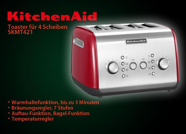 kitchenaid 5kmt421eer 4 scheiben toaster empire rot 1800 w leistung ebay. Black Bedroom Furniture Sets. Home Design Ideas