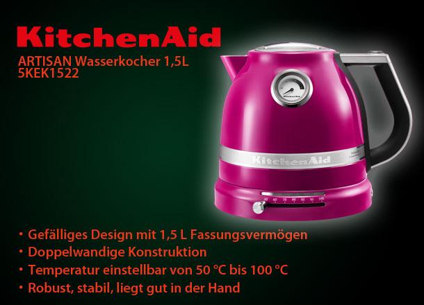 kitchenaid 5kek1522eri artisan wasserkocher pink 1 5l fassungsverm gen ebay. Black Bedroom Furniture Sets. Home Design Ideas