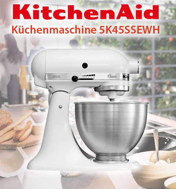 kitchenaid classic 5k45ssewh k chenmaschine 4 3l wei factory serviced ebay. Black Bedroom Furniture Sets. Home Design Ideas