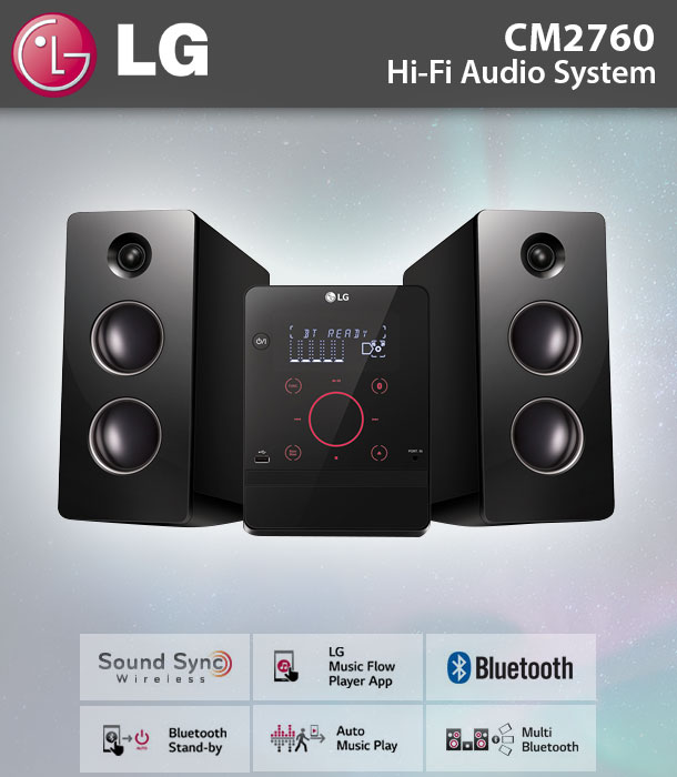 lg cm 2760 hifi kompaktanlage cd ukw radio usb bluetooth mp3 wma 160 watt ebay. Black Bedroom Furniture Sets. Home Design Ideas