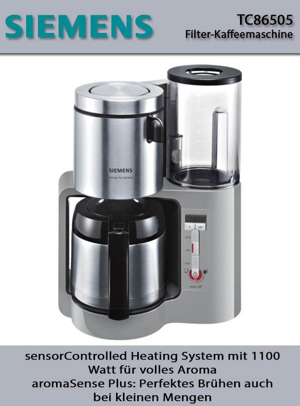 siemens tc86505 filter kaffeemaschine sensor technik thermokanne edelstahl saarwellingen. Black Bedroom Furniture Sets. Home Design Ideas