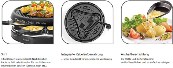 TEFAL RE 1288 Raclette Grill Plancha schwarz 36424034838 11