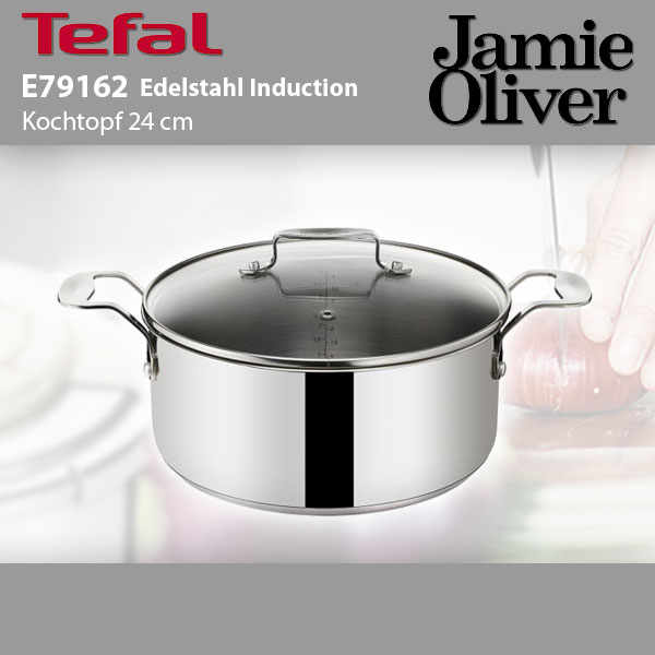 tefal e79162 jamie oliver edelstahl kochtopf induktion 24cm mit glasdeckel ebay. Black Bedroom Furniture Sets. Home Design Ideas