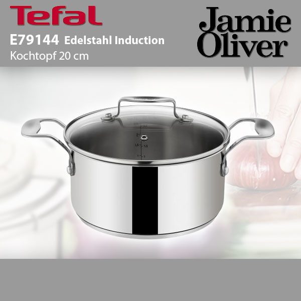 tefal e79144 jamie oliver edelstahl bratentopf induktion 20cm mit glasdeckel ebay. Black Bedroom Furniture Sets. Home Design Ideas