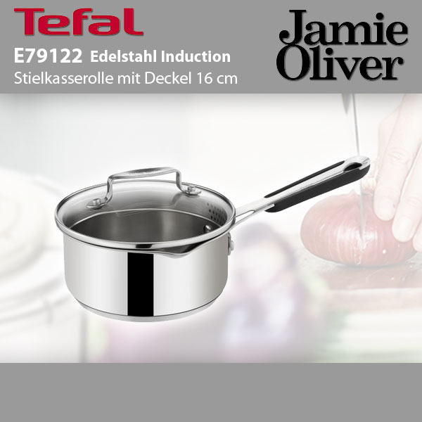 tefal e79122 jamie oliver edelstahl stielkasserolle induktion 16cm glasdeckel ebay. Black Bedroom Furniture Sets. Home Design Ideas