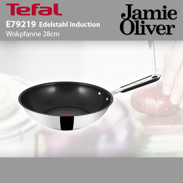 tefal e79219 jamie oliver edelstahl wokpfanne induktion 28cm ebay. Black Bedroom Furniture Sets. Home Design Ideas