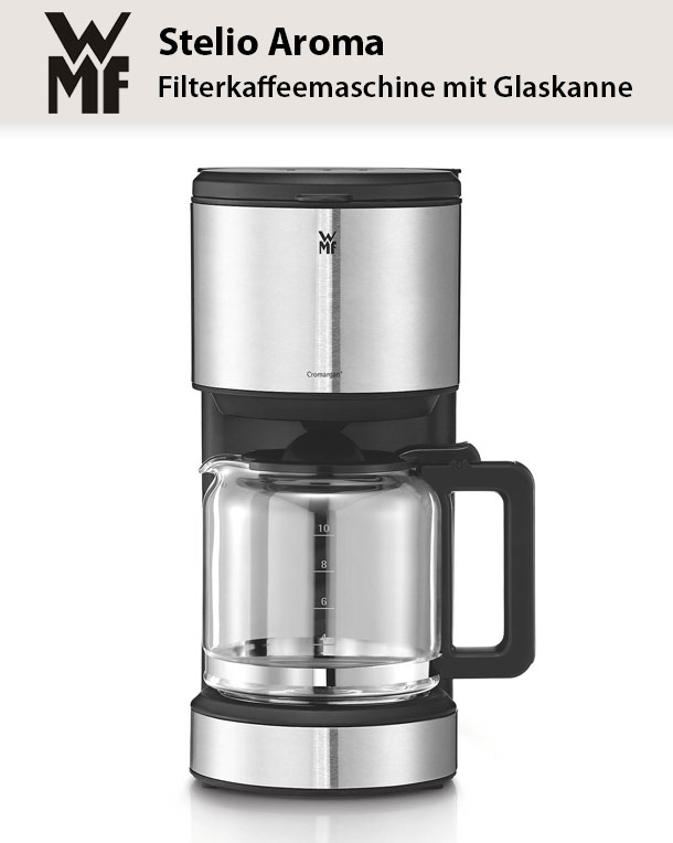 wmf stelio aroma kaffeemaschine glas f r 10 tassen tropfstopp warmhalteplatte ebay. Black Bedroom Furniture Sets. Home Design Ideas