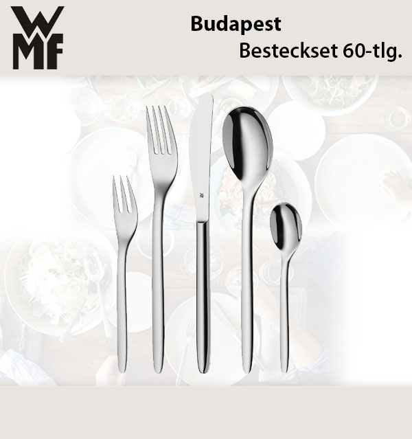 wmf budapest besteckset 60 tlg cromargan edelstahl poliert f r 12 personen ebay. Black Bedroom Furniture Sets. Home Design Ideas