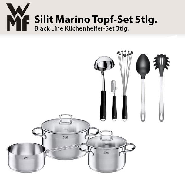 silit topf set 5tlg marino mit glasdeckel inkl wmf black. Black Bedroom Furniture Sets. Home Design Ideas