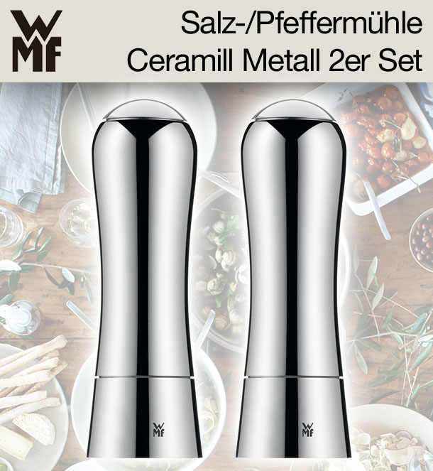 wmf ceramill salz pfefferm hle metall 2er set keramikmahlwerk ebay. Black Bedroom Furniture Sets. Home Design Ideas