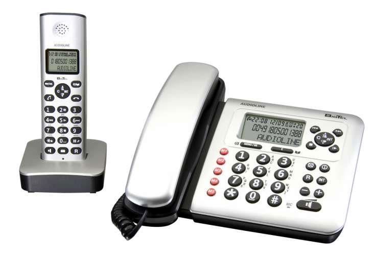 audioline bigtel 380 combo telefon mit ab und mobilteil ebay. Black Bedroom Furniture Sets. Home Design Ideas